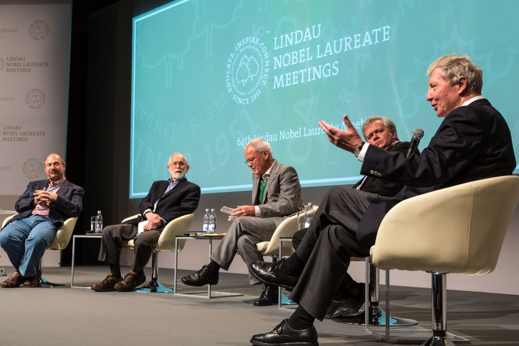Panel Discussion: Large Data and Hypothesis-Driven Science in the Era of Post-Genomic Biology Bruce A. Beutler, J. Michael Bishop, Moderator Stefan H.E. Kaufmann, Brian Schmidt and Jules A. Hofmann (from left) Picture/Credit: Christian Flemming/Lindau Nobel Laureate Meetings