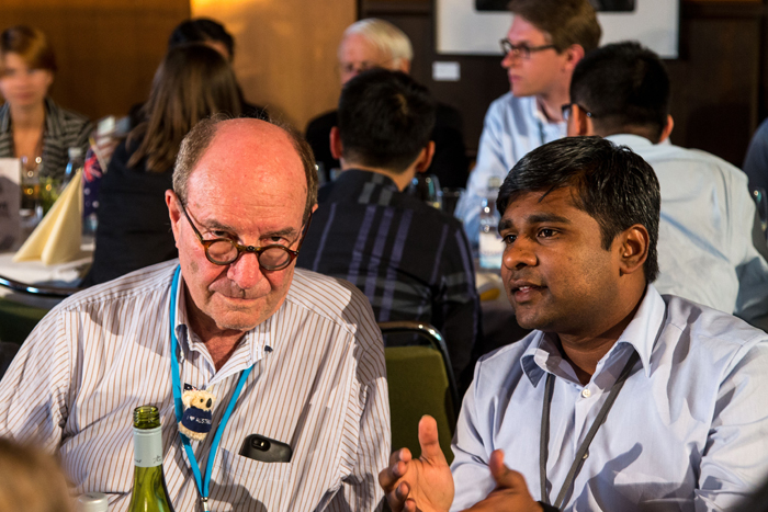 Walter Gilbert talking to a Young scientist at #LNLM14. Photo: C.Flemming/Lindau Nobel Laureate Meeting