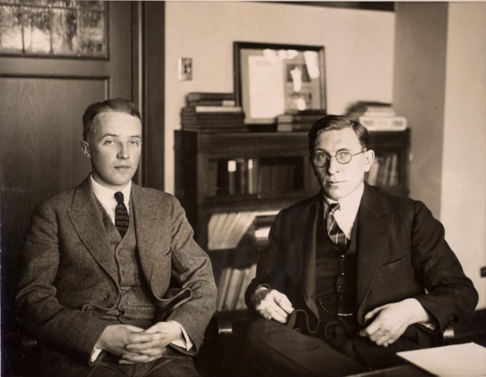 Frederick Banting (right) with colleague Charles Best. Photographer unknown, public domain