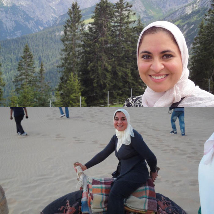 A global way of life: Upper picture - in front of the Bavarian Alps, lower pciture - during a camel rid ein the desert. Credit: Ghada Bassioni.