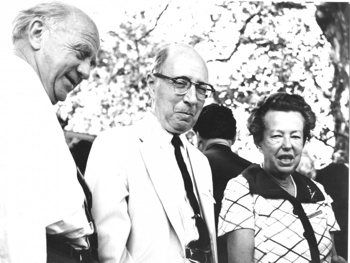 Wigner with Werner Heisenberg and Maria Goeppert-Mayer, the second and currently last woman to receive the Nobel Prize in Physics. Lindau 1968, Photo: LNLM