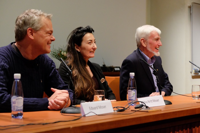 John O'Keefe and Edvard Moser with Co-Laureate May-Britt Moser (Photo: Gunnar K. Hansen, NTNU Comm. Div.)