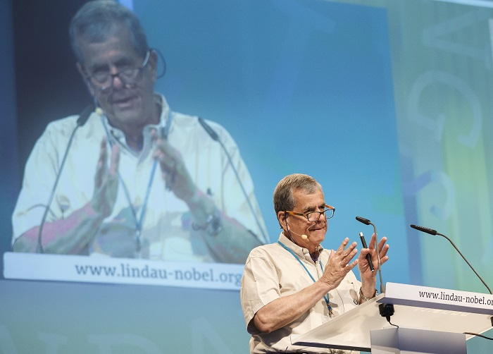 Aaron Ciechanover at Lindau Nobel Laureate Meeting 2013, Photo: Rolf Schultes