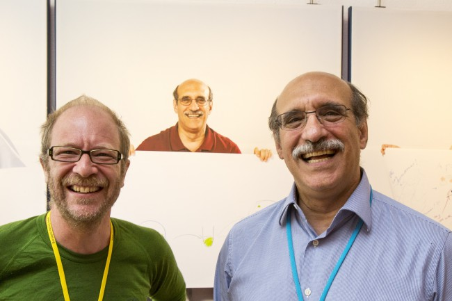 Martin Chalfie (right) with the photographer Volker Steger at the 2013 Lindau Nobel Laureate Meeting at Steger's exhibition
