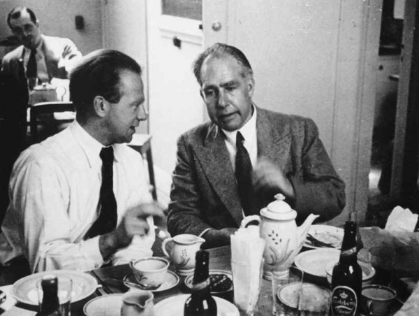 Werner Heisenberg (left) with Niels Bohr at a Conference in Copenhagen in 1934. Photo: Fermilab, U.S. Department of Energy