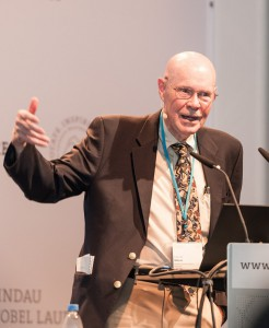 Nobel Laureate Robert W. Wilson during his lecture at the 65. Lindau Nobel Laureate Meeting on the Cosmic Microwave Background. He was present at the March 2014 press conference, but not part of the panel. Photo: Adrian Schröder/LNLM
