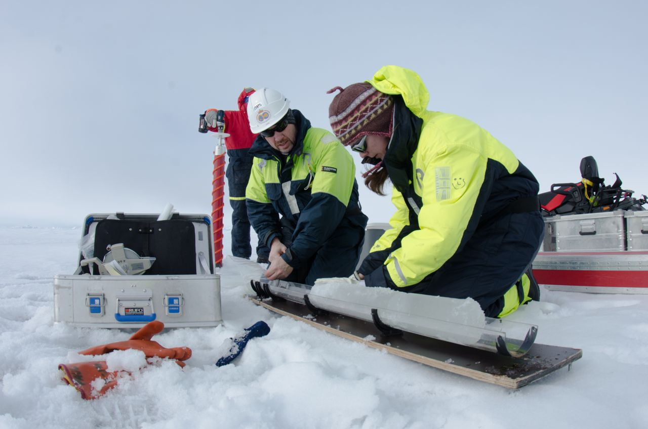 Analyzing the snow properties on sea ice, as part of the N-ICE cruise in June 2015 in the Arctic (Photo : Mikko Vihtakari).