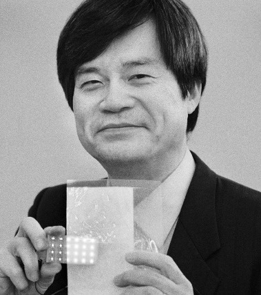 Hiroshi Amano with white light LEDs. Amano was born on September 11, 1960. He received all his academic degrees from Nagoya University, where today he holds a chair in physics and has his own lab. Photo: Peter Badge/LNLM
