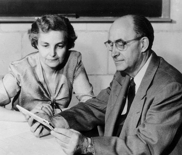 Laura and Enrico Fermi in 1954, the year he died of stomach cancer. Photographer unknown. Credit: Mondadori Publishers, public domain