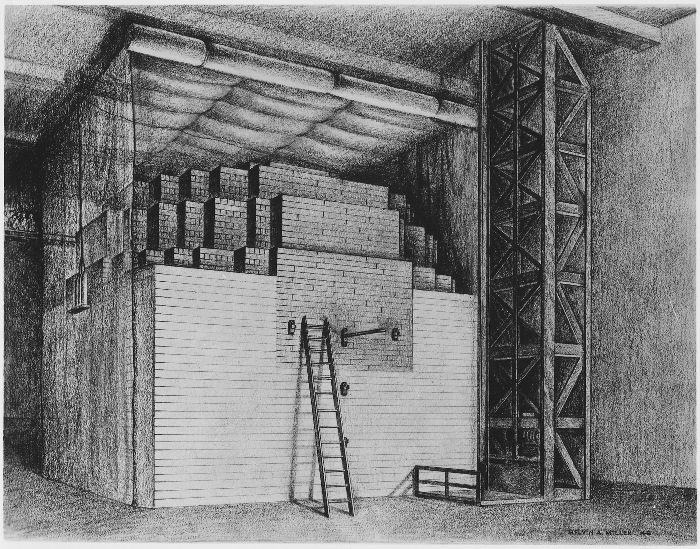 Der erste Atomreaktor der Welt besaß weder Strahlenschutz-Vorrichtungen noch ein Kühlsystem, weil er nur eine sehr geringe Leistung hatte. Der 'pile', also 'Haufen' wurde nach dem Experiment außerhalb von Chicago wieder aufgebaut, dort entstand in Folge das Argonne National Laboratory. Heute erinnert eine Statue von Henry Moore an die erste nukleare Kettenreakton. Zeichnung: Melvin A. Miller of the Argonne National Laboratory, public domain