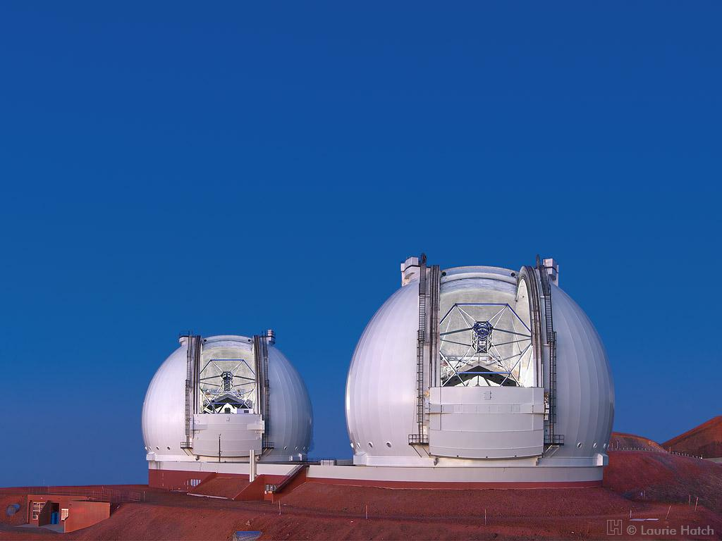 The twin Keck telescopes on Mauna Kea, Hawaii  (copyright: Laurie Hatch)