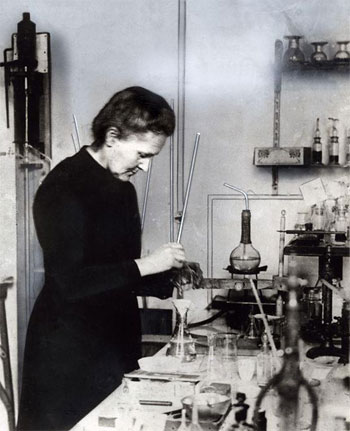 Marie Curie in her chemistry laboratory at the Radium Institute in France, April 1921.