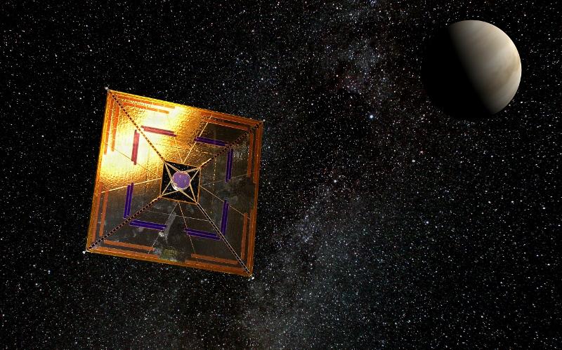 Künstlerische Darstellung der japanischen Sonnensegel-Sonde IKAROS, die im Jahr 2010 nahe der Venus ein anspruchsvolles Pogramm absolvierte: volle Entfaltung der Segel, Stromproduktion und Navigation mit Sonnensegeln. Abbildung: Andrzej Mirecki CC BY-SA 3.0