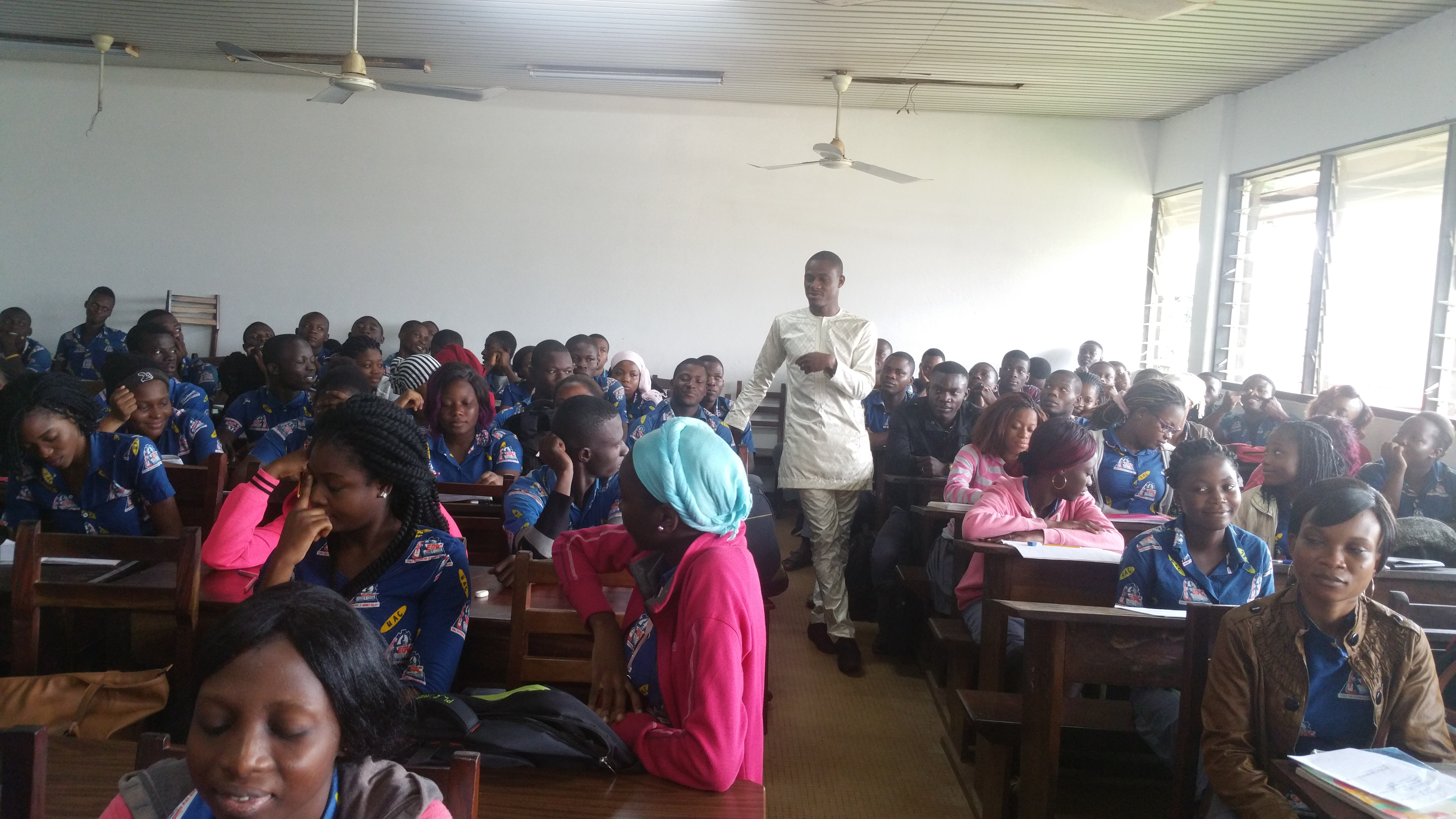 Teaching a session of Medical Microbiology in the Department of Human Biology, Polytechnic School of Abomey-Calavi, University of Abomey-Calavi. Photo: Courtesy of Tamègnon Victorien Dougnon
