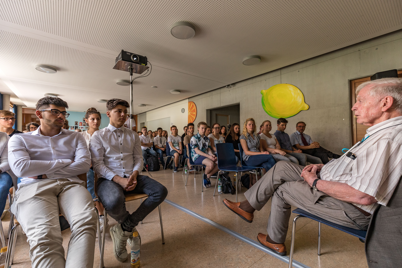 Schülergespräch mit Harald zur Hausen, 67. Lindauer Nobelpreisträgertagung, 27.06.2017. Foto: Christian Flemming/Lindau Nobel Laureate Meetings