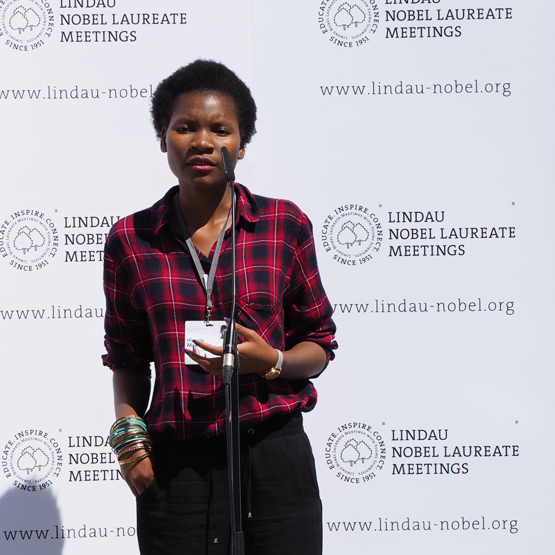 Hlamulo Makelane made closing remarks as a representative of the young scientists at the 67th Lindau Meeting. Photo: lvd/Lindau Nobel Laureate Meetings