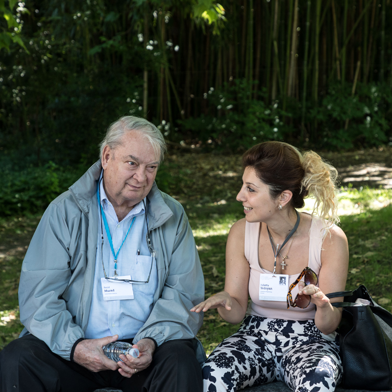 Julietta and Nobel Laureate Ferid Murad during the 67th Lindau Meeting. Photo:  Christian Flemming/Lindau Nobel Laureate Meetings