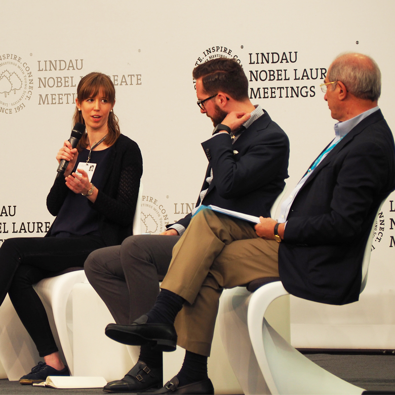 Karen with young scientist Michael Lerch and General-Director of the Organisation for the Prohibition of Chemical Weapons, Ahmed Üzümcü on the Discussion Panel on 'Ethics in Science'. Photo: Lindau Nobel Laureate Meetings
