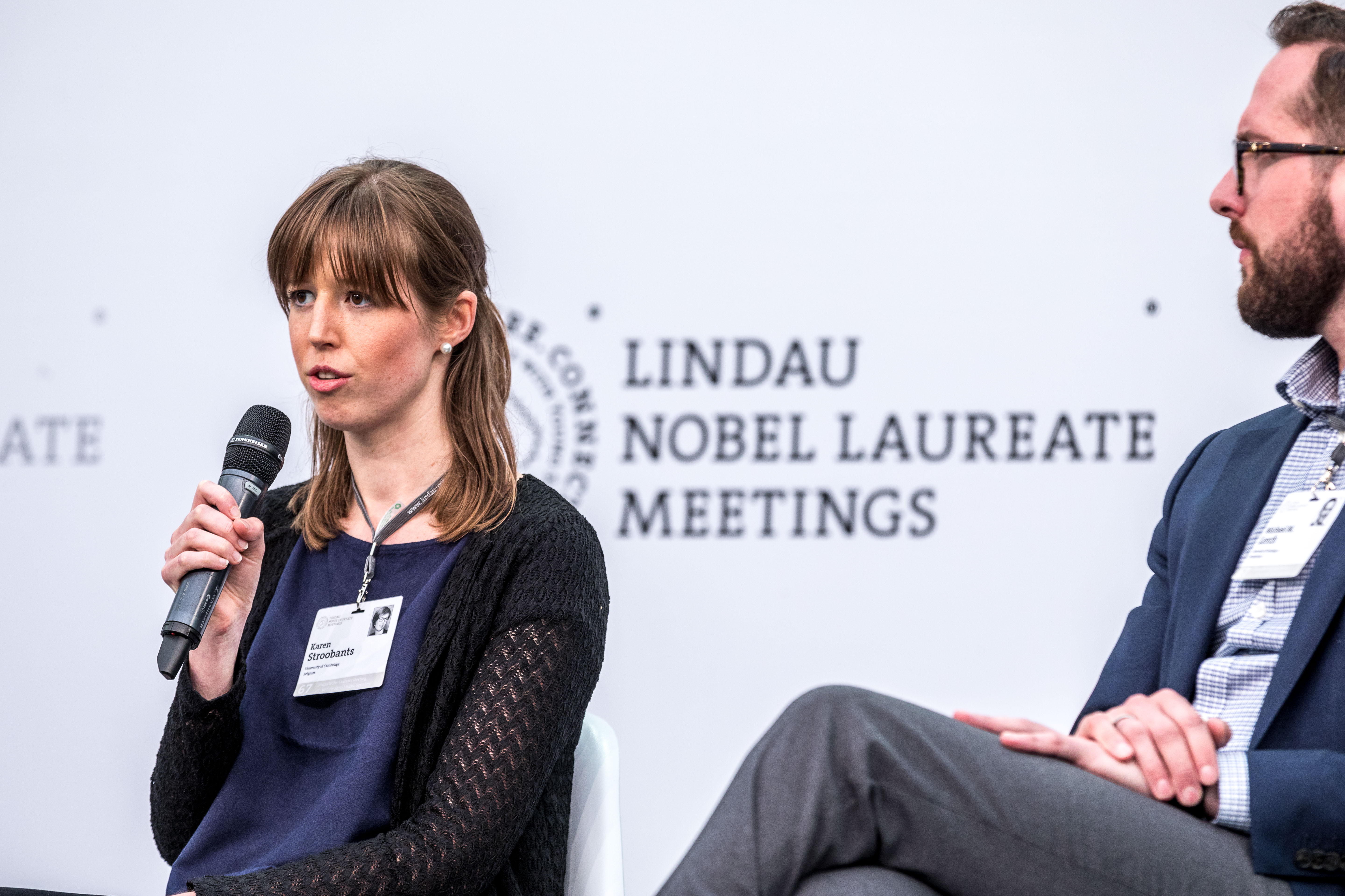 Lindau Alumna Karen Stroobants during the Panel Discussion 'Ethics in Science' at the 67th Lindau Nobel Laureate Meeting, Picture/Credit: Christian Flemming/Lindau Nobel Laureate Meetings