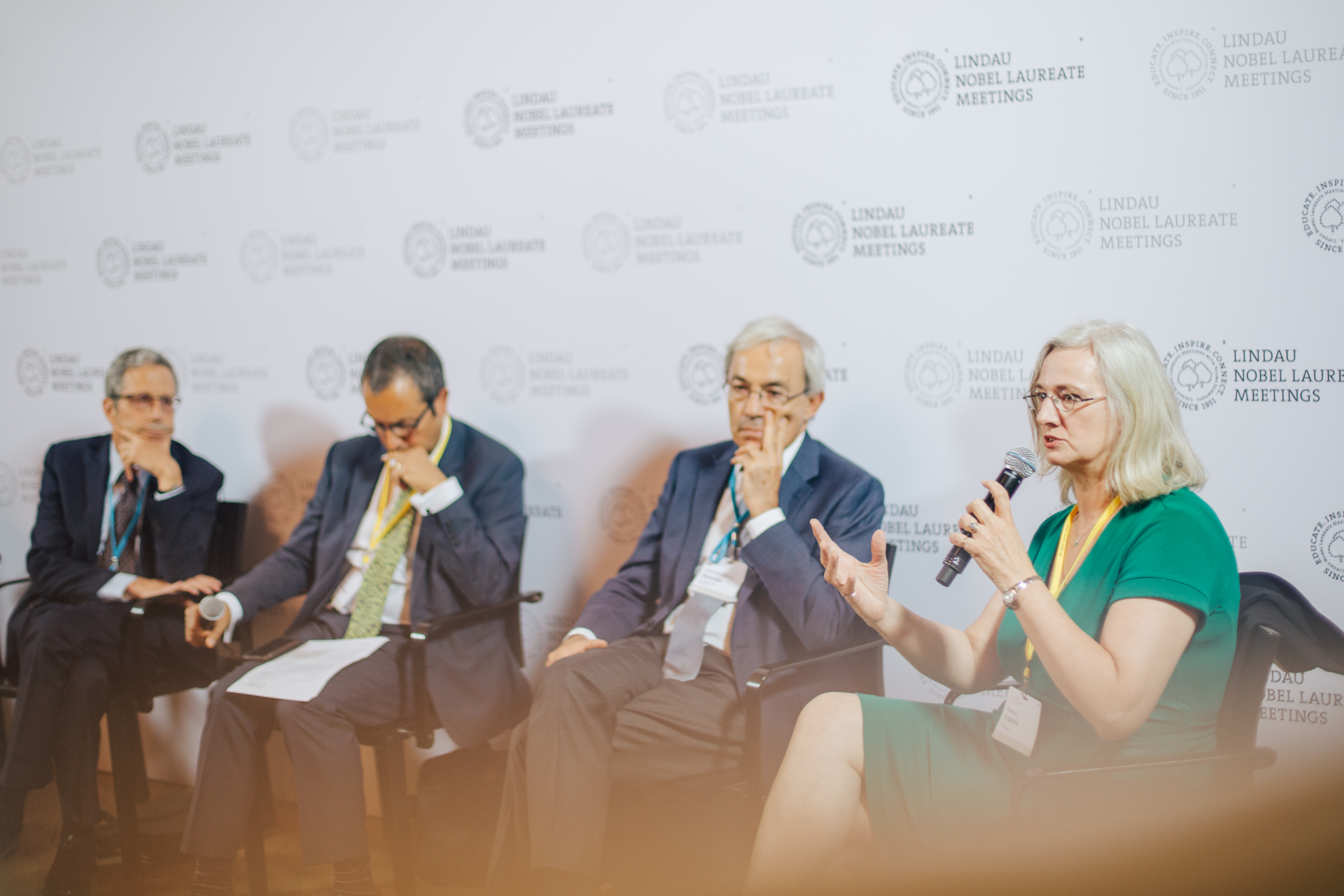 Frances Coppola was speaking on a panel with Nobel Laureates and young economists during a press talk at the 6th Lindau Meeting on Economic Sciences. Picture/Credit: Julia Nimke/Lindau Nobel Laureate Meeting