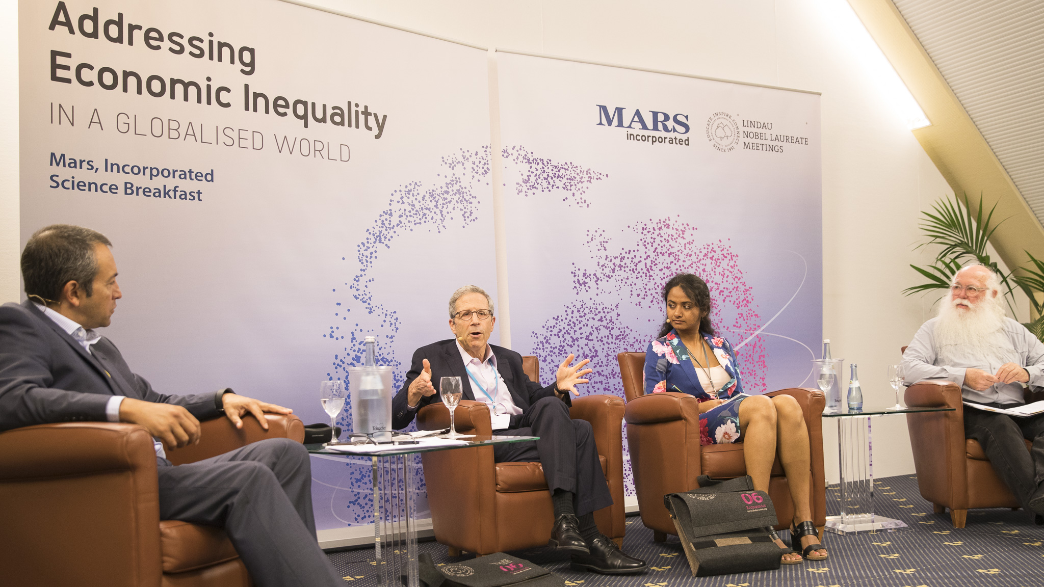 During a Science Breakfast at #LiNoEcon moderated by Romesh Vaitilingam (left) laureate Eric Maskin, young economist Devaki Ghose and Howard-Yana Shapiro, Chief Agricultural Officer, Mars, Incorporated, discussed how to address global inequality.