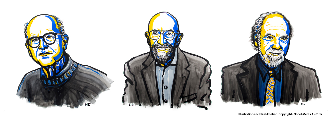 The three new Nobel Laureates: Rainer Weiss, Barry C. Barish, and Kip S. Thorne (from left). Copyright: Nobel Media, Illustration by N. Elmehed