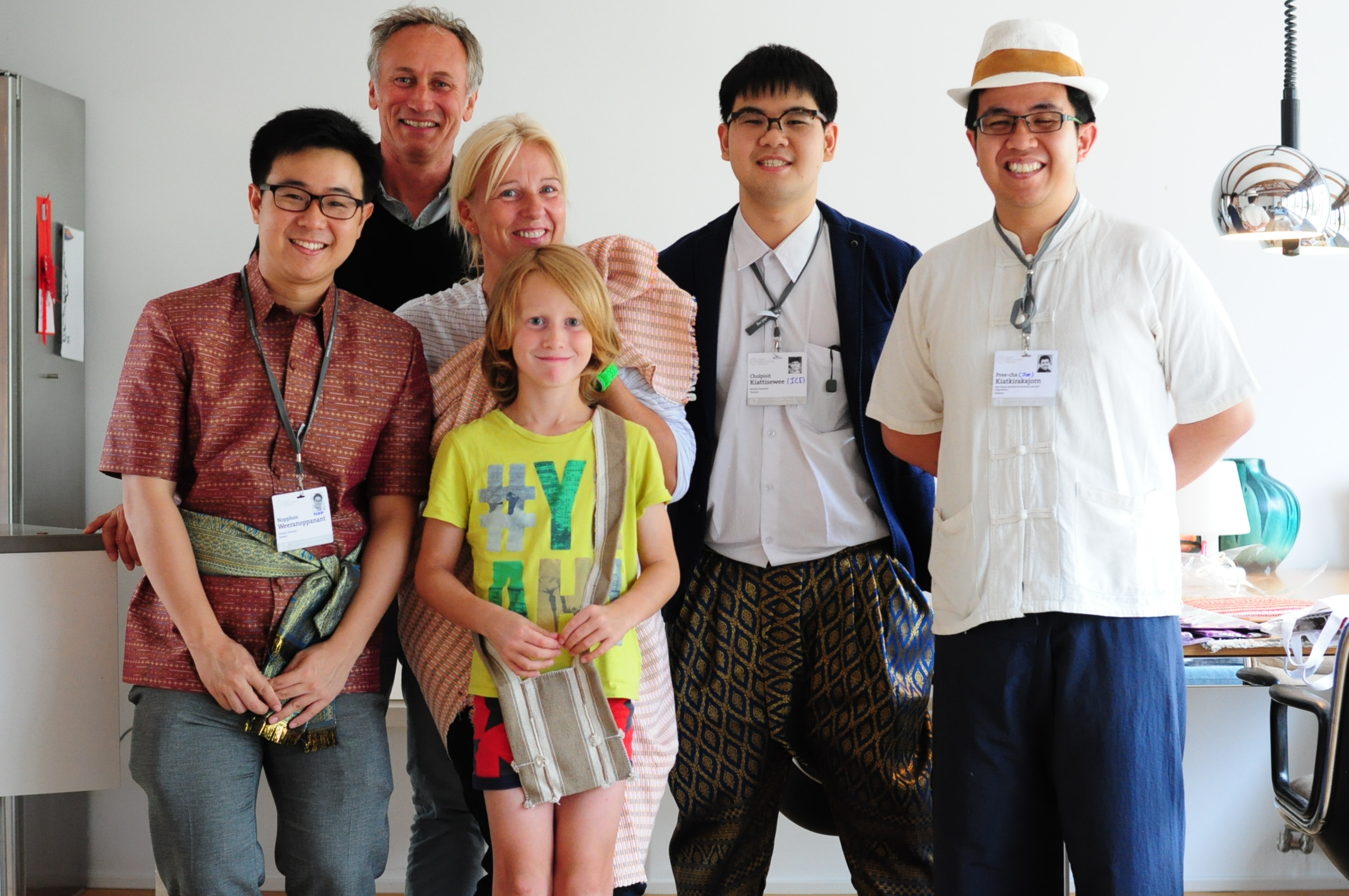 "Host family Ober with their two young scientists Nopphon Weeranoppanant (""Nop"", left) and Cholpisit Kiattisewee (""Ice"", second from right) and guest Pree-Cha Kiatkirakajorn (""Joe"", right). Photo/Credit: Courtesy of Catharina Ober"