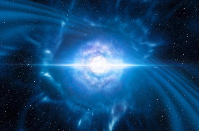 Künstlerische Darstellung zweier verschmelzender und dabei explodierender Neutronensterne. Forscher erwarteten von einem solchen seltenen Ereignis sowohl Gravitationswellen als auch einen kurzen Gammastrahlen-Ausbruch: Beides wurde am 17.08.2017 von LIGO-Virgo gemessen. Anschließend beobachteten über 70 Profiteleskope die 130 Lichtjahre entfernte Galaxie NGC 4993. Astronomen gehen davon aus, dass schwere Elemente wie Gold oder Platin überwiegend aus solchen sogenannten Kilonova-Explosionen stammen. Credit: ESO/L. Calçada/M. Kornmesser CC BY-SA 4.0