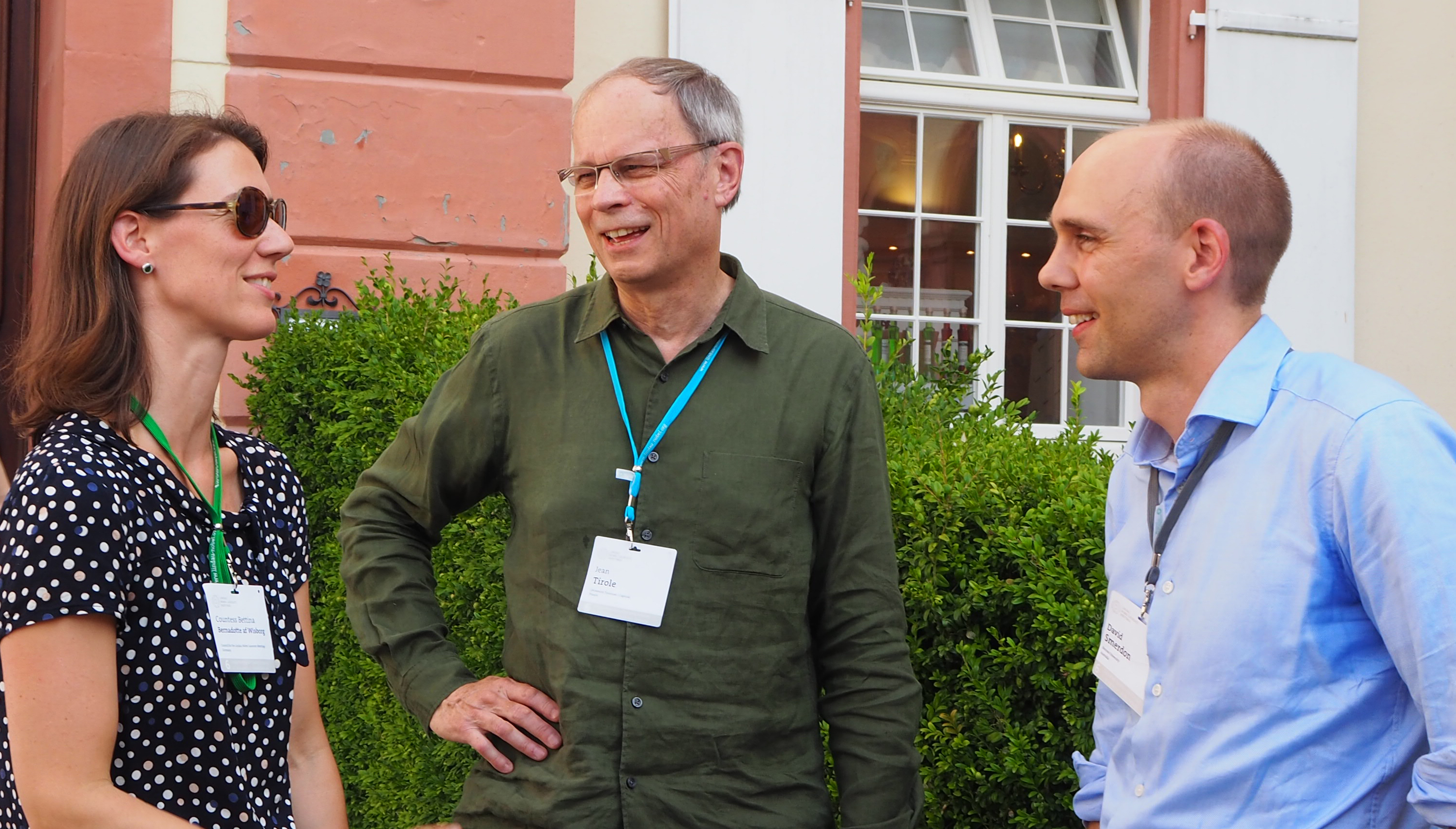 David Smerdon (right) with Countess Bettina Bernadotte and laureate Jean Tirole. Picture/Credit: Lisa Vincenz-Donnelly/Lindau Nobel Laureate Meetings