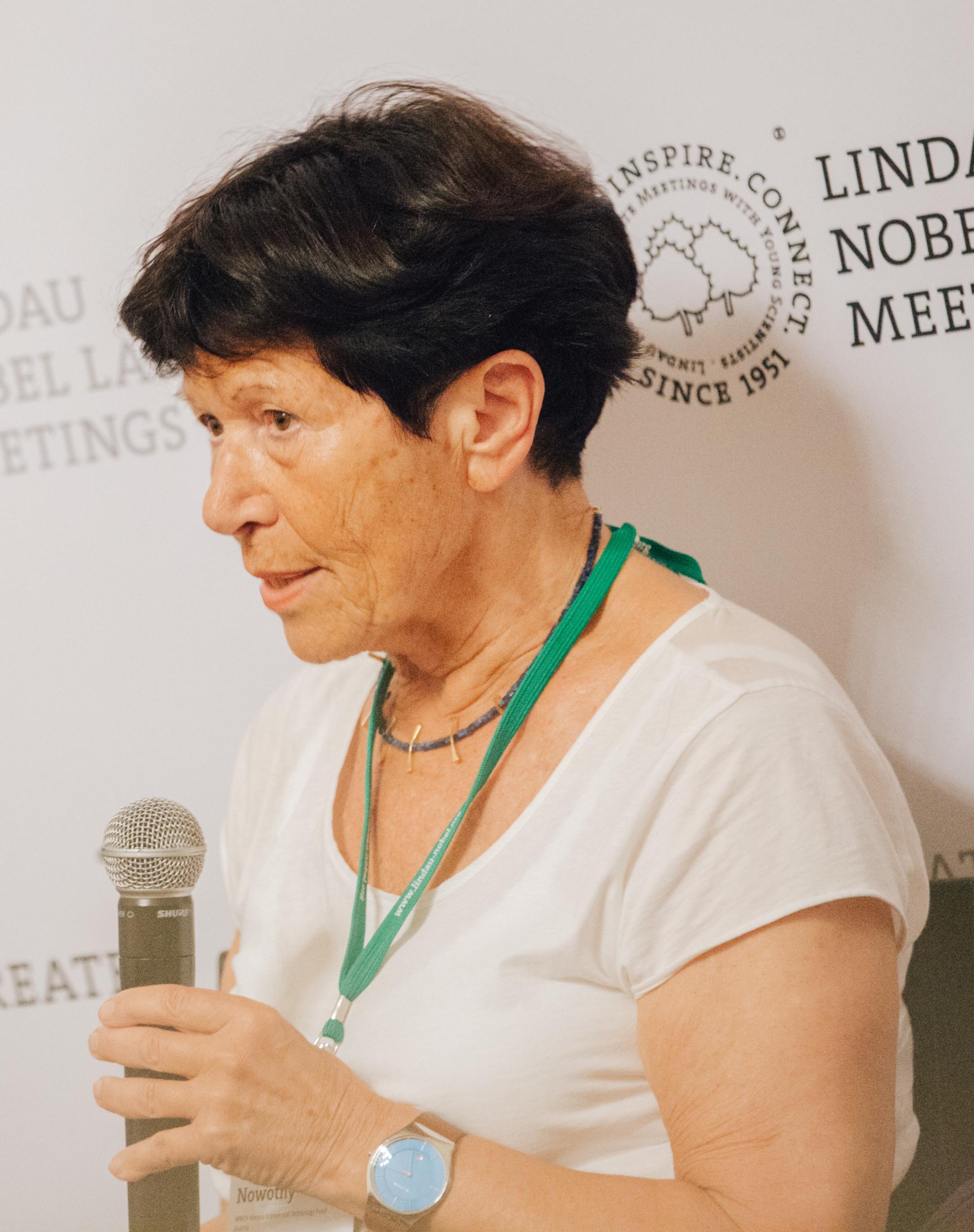 Helga Nowotny was speaking as a panellist at a press talk on 'Science in a Post-Truth Era' during the 67th Lindau Meeting. Credit: Julia Nimke/Lindau Nobel Laureate Meetings