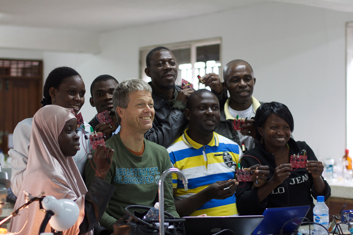 Participants and instructor of the 2nd IBRO school on insect neuroscience and Drosophlia neurogenetics organized by TReND in 2013, showing the electrophysiology amplifiers from  Backyardbrains they built during the course. Participants could take the amplifiers back to their home institution and use them for teaching and research. Credit: TReND in Africa