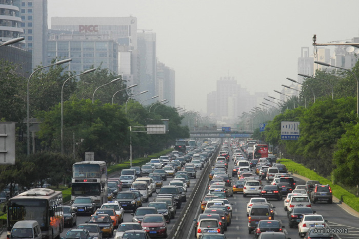 Traffic Jam in Beijing. Credit: Axel Drainville @ FlickR (licensed under Creative Commons).