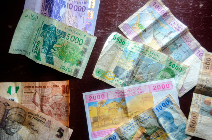 Selection of Central and West African currencies. Credit: jbodane @ FlickR, licensed under Creative Commons