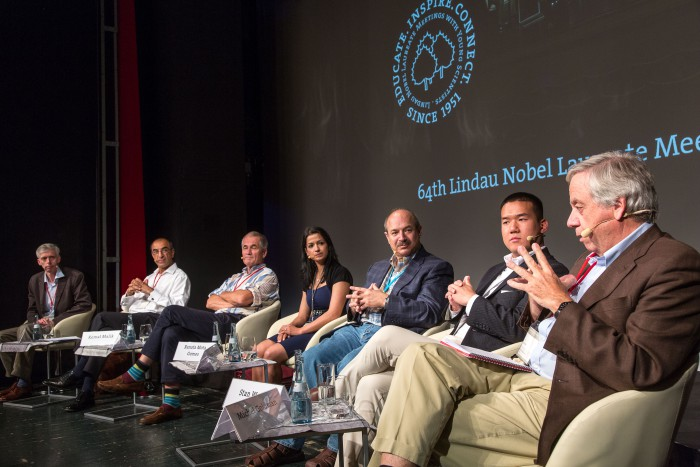 Panel Academia and Industry: Adam Smith, Kemal Malik, Peter C. Gøtzsche, Renata Gomes, Bruce Beutler, Stan Wang, Michel Goldman (from left) #lnlm2014, Photo: Ch. Flemming