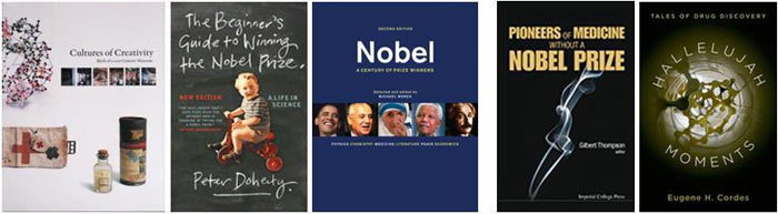 Several books related to the Nobel Prizes. Collage: L. Moussakova