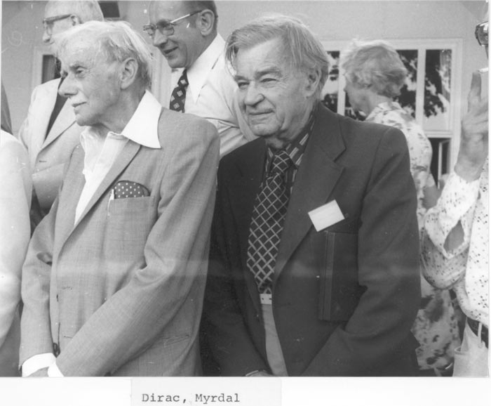 Paul Dirac and Nobel Economist Gunnar Myrdal 1976 in Lindau. Source: Archive Pfeiffer.