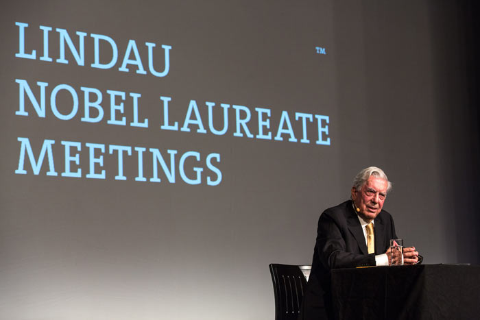 Mario Vargas Llosa was the first literature Nobel Laureate to ever hold a lecture at a Lindau Meeting. Photo: C.Flemming/Lindau Nobel Laureate Meetings.