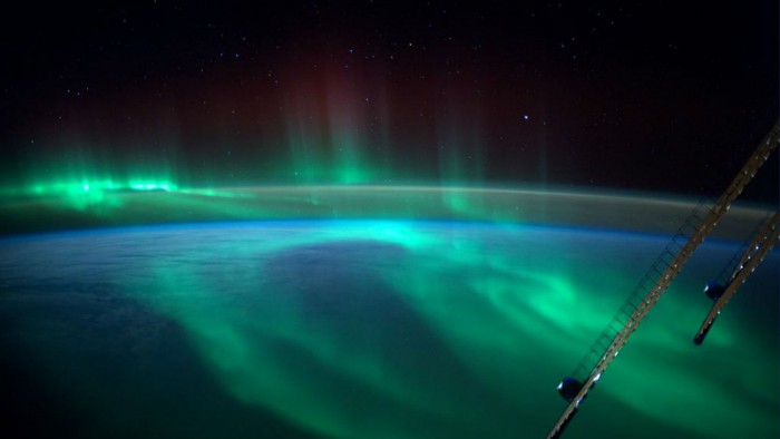 The space station flying over polar lights. 'I never thought I would be flying through an aurora,' Gerst said.