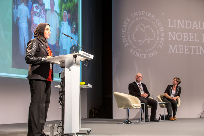Ghada Bassioni during her presentation for the Global Young Academy at #lnlm14. Credit: C.Flemming/Lindau Nobel Laureate Meetings.