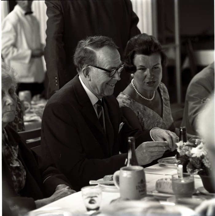 Virtanen enjoying the Bavarian Breakfast at the 1964 LIndau Nobel Laureate Meeting. Photo: LNLM