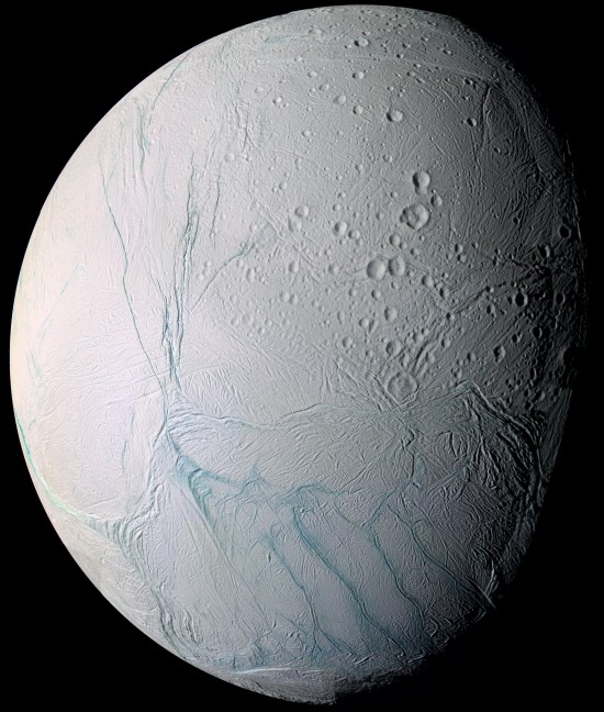 Mosaic photo of Saturn's moon Enceladus taken by the Cassini–Huygens probe in 2005, showing the south polar region. This moon exhibits liquid water - although outside the habitable zone. No exo-moons have been found yet, but they very probably exist and they could also show signs of water. Photo: NASA/JPL/Space Science Institute