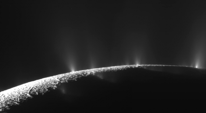 Mosaic image of the geysers on Enceladus. Photo: NASA/JPL/SSI; Mosaic: Emily Lakdawalla