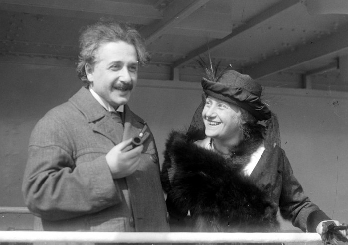 Einstein with his second wife Elsa, who was also his first cousin. She had insisted on their marriage because their cohabitation diminished the marriage prospects of her daughters from a previous marriage. Photographer: unkonown, public domain