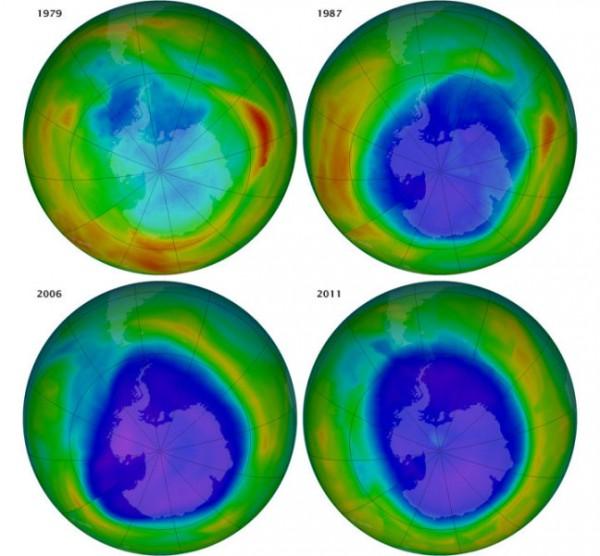 Das Ozonloch über der Antarktis in den Jahren 1979, 1987, 2006, und 2011. Man kann deutlich erkennen, dass es sich zwar stabilisiert, aber noch nicht zurückgebildet hat. Credit: Images from NASA animation by Robert Simmon, using imagery from the Ozone Hole Watch