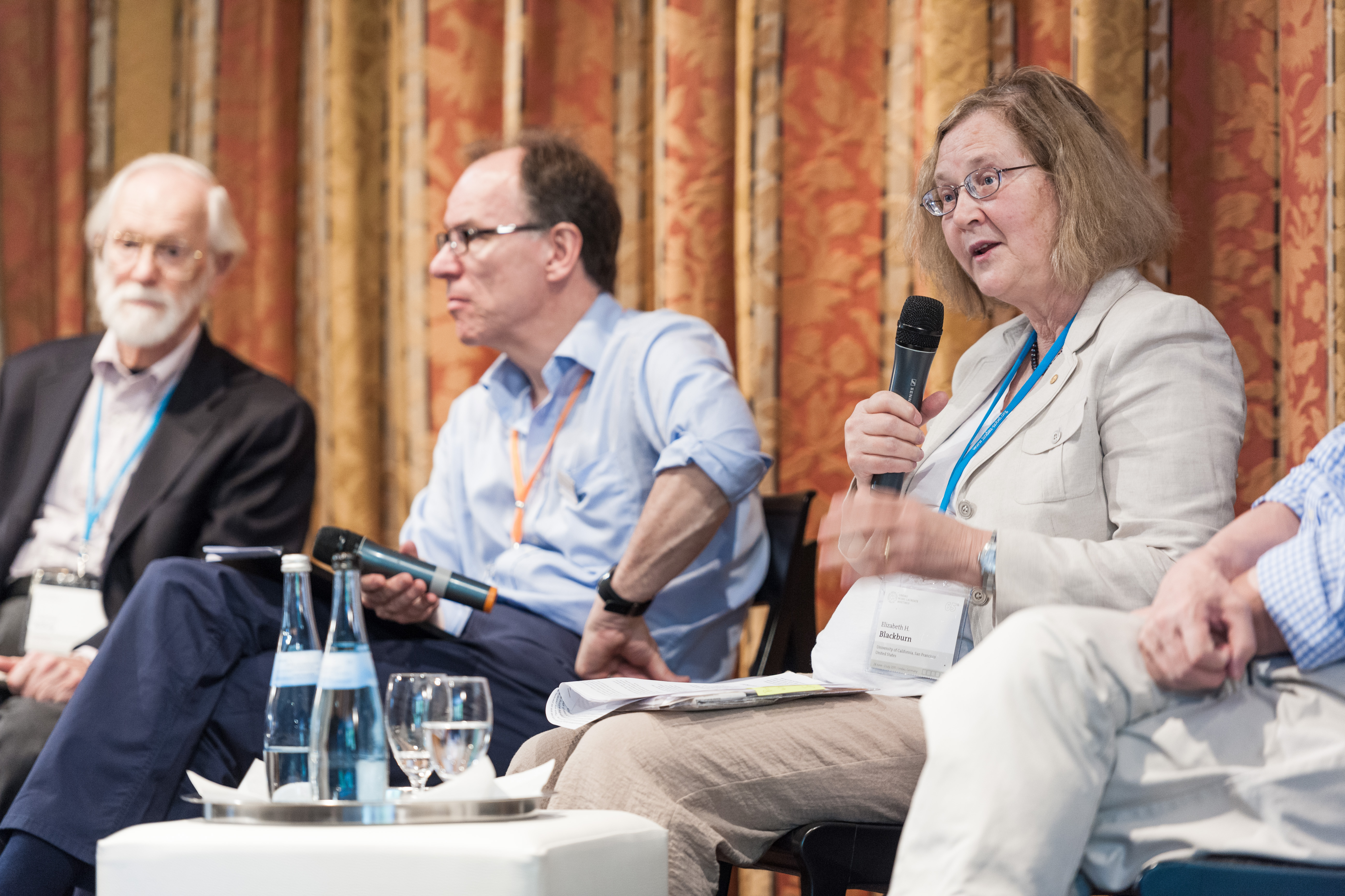 65th Lindau Nobel Laureate Meeting, Lindau, Germany, Picture/Credit: Adrian Schröder/Lindau Nobel Laureate Meetings, 29 June 2015 Elizabeth Blackburn, Michael Bishop, Richard Roberts, Presstalk at Forum am See No Model Release. No Property Release. Fre