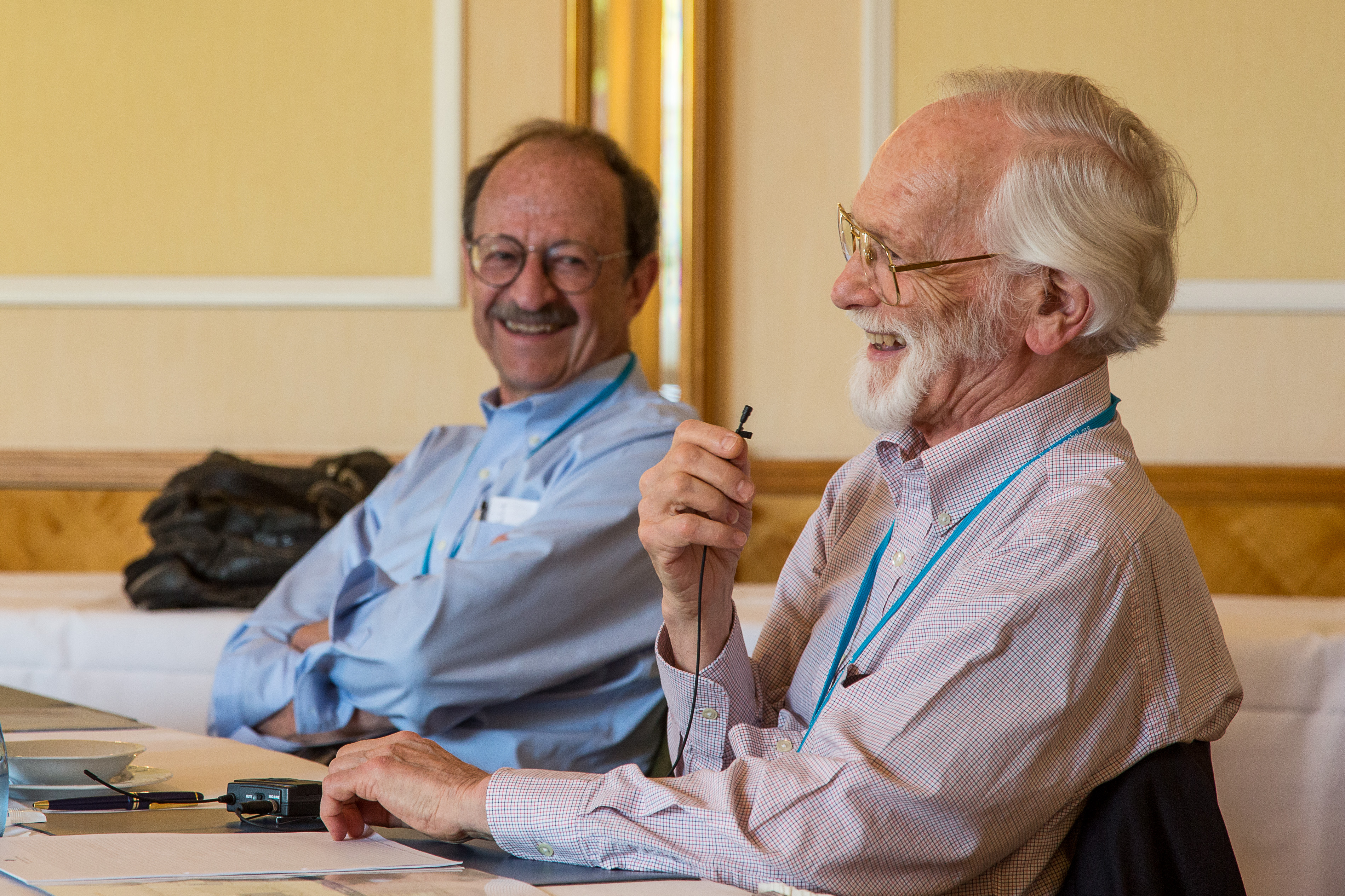 Varmus und Bishop bei #LiNo15. Foto: Ch. Flemming/Lindau Nobel Laureate Meetings.