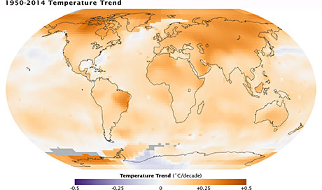 Caption: Map of the 1950-2014 temperature trend showing disproportionate warming in the Arctic. Image Credit: NASA/GSFC/Earth Observatory, NASA/GISS.