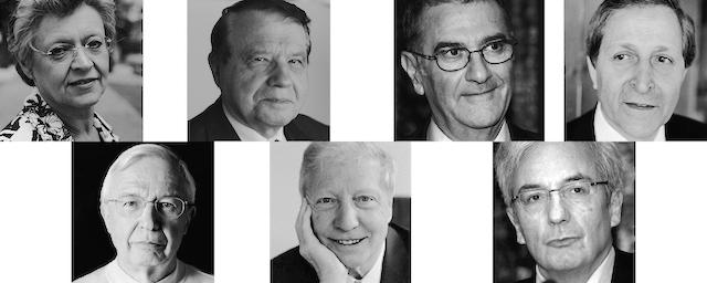 Von links im Uhrzeigersinn: Francoise Barré-Sinoussi, Luc Montagnier, Serge Haroche, Claude Cohen-Tannoudji, Albert Fert, Jules A. Hoffmann und Jean-Marie Lehn. Fotos: Peter Badge, LNLM