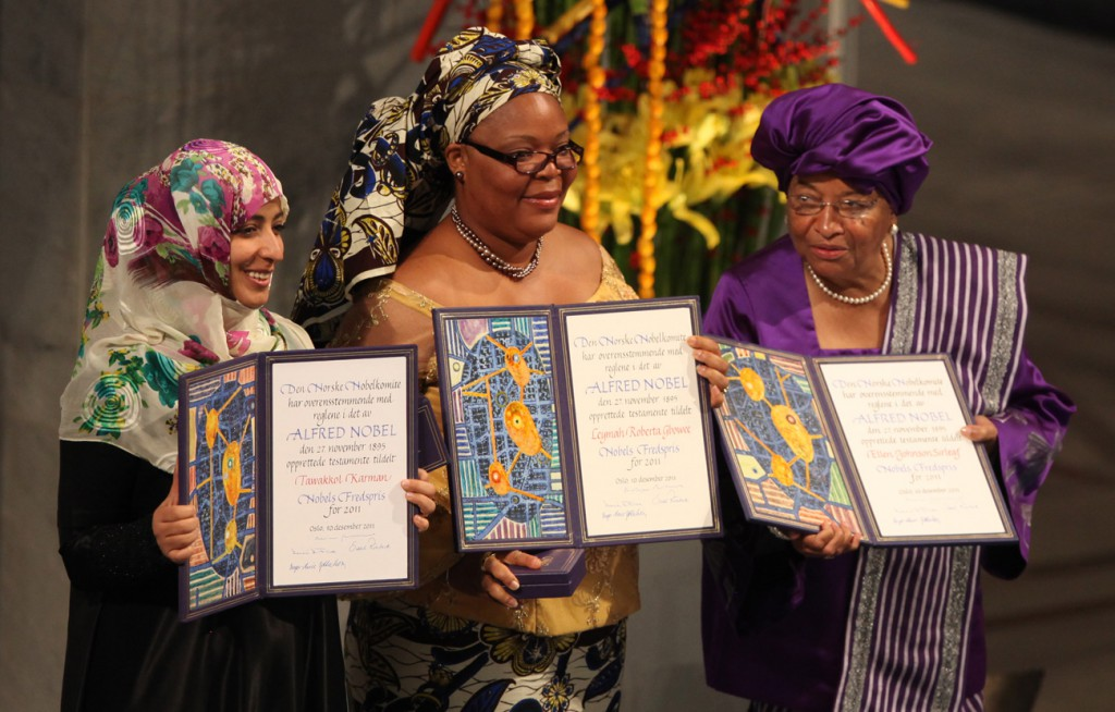Tawakkol Karman, Leymah Gbowee and Ellen Johnson Sirleaf, Credits: Harry Wad, CC BY-SA 3.0