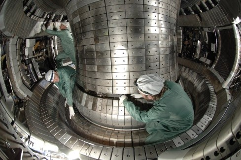 The fusion experiment 'ASDEX Upgrade' near Munich, Germany, at the Max Planck Intitute for Plasma Physics, a Tokamak. There are currently 24 Tokamaks in several different countries, some are still being build, and six Stellarators. Photo: MPI-PP